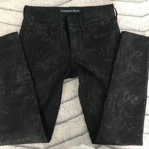 Express Snake Print Skinny Pants Leggings Black Os
